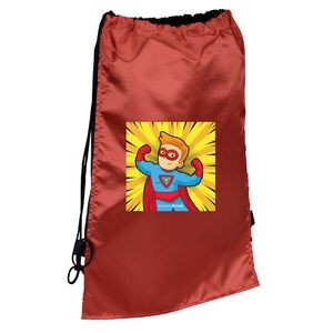 Super Hero Styled Sport & Flag Draw String Back Pack With Cape (full Color)