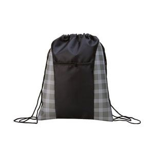 17 Classic Drawstring Backpack - Plaid Prints (Case of 100)